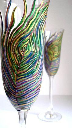 Peacock Wedding Toasting Flutes by MaryElizabethArts on Etsy