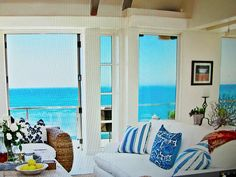 Malibu beach home. I want a room in my house like this, even if i have to paint to the ocean on a wall.