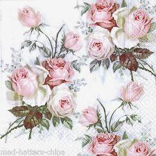 4 Sagen Designer PAPER Lunch NAPKINS Vintage Roses TEA PARTY Decoupage Craft