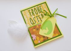 Easter card in yellow / green with punched out script Source by Script, Easter Card, Yellow, Day, How To Make, Cards, Paper Mill, Invitation Cards, Invitations