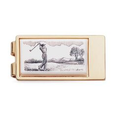 Golf Sketch Gold Money Clip - MCL3108