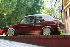 Stanced Cars : Photo  Golf Mk 1 Cabrio with fine chrome wheels