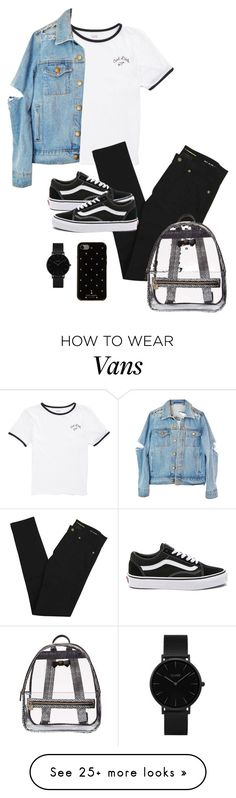"""Sin título #924"" by bethsalash on Polyvore featuring Vans, Yves Saint Laurent, CLUSE, Kate Spade and Betsey Johnson"