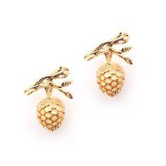 Dangling Pine Cone from Branch Gold Plated Stud Earrings by Bill Skinner Butler & Wilson, Hatton Garden, Lovely Shop, Autumn Inspiration, Designer Earrings, Pine Cones, Gold Earrings, Costume Jewelry, Plating