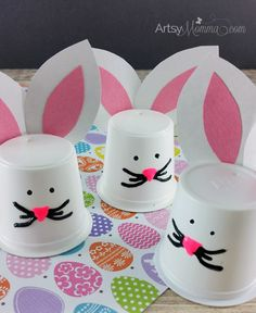 Easy K Cup Bunny Craft for Easter - adorable bunny craft!