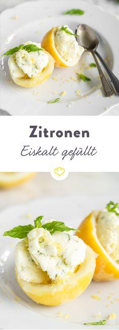 Wenn dir das Leben an einem warmen Sommertag Zitronen gibt, dann frag mal nach, ob du auch noch etwas Zitroneneis haben kannst… Gib Minze dazu, fülle es in die Zitronen und fertig! Und jetzt brauchst du nur noch die Augen schließen, dich zurücklehnen und Erfrischung pur genießen!