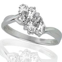10k White Gold White Topaz and Diamond Heart Ring