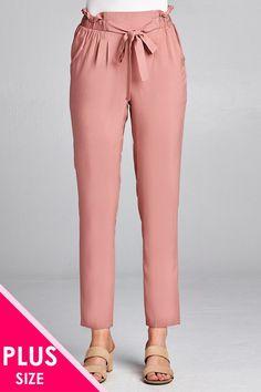 2f146b50b9c05 Ladies fashion plus size self ribbon detail long leg woven pants Long Legs