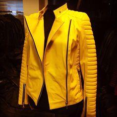 Yellow leather biker ,visit #leonardoleather