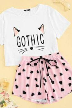 Cat Print Casual Sleepwear Women - Source by nathalieschiel - Cute Lazy Outfits, Trendy Outfits, Cool Outfits, Cute Sleepwear, Sleepwear Women, Cute Pajama Sets, Pajama Outfits, Lingerie Outfits, Lingerie Underwear