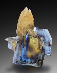 Calcite on Fluorite - Minerva Mine, Hardin Co., Illinois