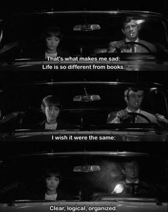 Anna Karina and Jean-Paul Belmondo in Pierrot le Fou, 1965 Tv Show Quotes, Film Quotes, Classic Movie Quotes, Jean Luc Godard, Movie Lines, Film Music Books, Film Stills, I Love Books, Old Movies