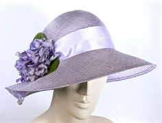Kentucky Derby Lavender Straw Cloche,  Medium Lavendar Cloche Hat Women