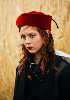 Natalie Westling shot by Joshua Woods at Prada, Fall 2016 backstage.