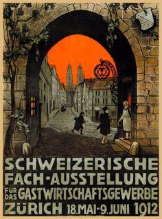 Schweizerische-Zurich-Switzerland-Swiss-Suisse-Vintage-Travel-Art-Poster-Print