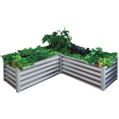 The Organic Garden Co 150 x 150 x 41cm Zinc L-Shape Raised Garden Bed