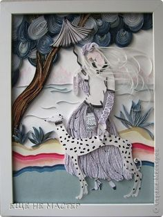 Картина панно рисунок Бумагопластика Квиллинг  Прогулка  Бумага Бумажные полосы фото 1