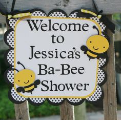 Bumble Bee Door Welcome Sign, Yellow Black & White Bee baby shower, mommy to bee, Happy Beeday, 1st Birthday sign on Etsy, $13.00