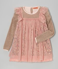Take a look at this Pink & Beige Floral Ruffle Layered Tunic - Toddler & Girls on zulily today!