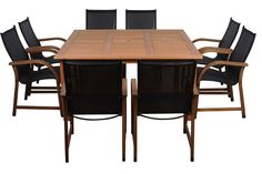 Amazonia Bahamas 9-Piece Eucalyptus Square Dining Set. Amazonia Eucalyptus Collection. 1 Square Table 59Wx59Lx29H. 8 Armchairs 22Wx23Dx37H. Seat Dimensions:18Wx18Dx18H. High Quality Eucalyptus Wood (Eucalyptus Grandis). Brown color. Could be used indoors or outdoors. 9 individual pieces. Great functionality. Some assembly required. Table has a 2-inch umbrella hole. FREE Sealer Protector for longest strap durability. It works great against the effects of air pollution salt air, and mildew...