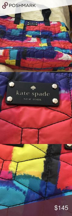 "New Kate Spade bag nwot Stunning watercolor large bag. Same inside, see pix4. 14 x 16"" soft cotton bag and straps. Interior pocket. Zips from top across. Inside nylon finish, or other slick fabric. kate spade Bags Shoulder Bags"