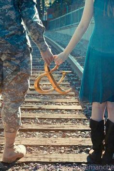 mr & mrs with the railroad tracks Military Couples, Military Girlfriend, Military Love, Military Photos, Army Boyfriend, Military Marriage, Military Couple Photography, Engagement Photography, Wedding Photography