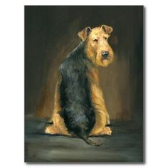 Airedale Terrier Dog Art Postcard