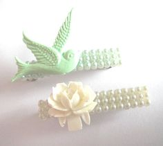 Mint green bird and white rose pearl hair clip by bunnyboutique, $17.00