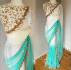Beautiful white and golden saree
