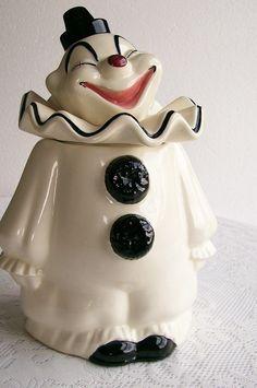 Black and white clown cookie jar