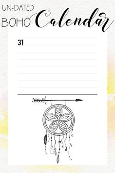Boho Calendar Printable 30 pages - A4 format PDF Instant download 2 days per page Undated monthly calendar Undated daily journal entry Bullet Journal