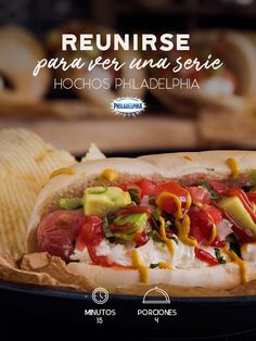 Ya inicio la siguiente temporada de su serie favorita, disfrútenla con estos ricos Hochos Philadelphia.  #cena #receta #queso #quesocrema #philadelphia #reunión #amigos #series #peliculas #hotdosgs
