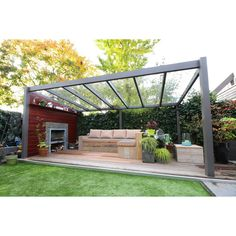 Gabionen Überdachung Poly Gal and Steel Pergola Structure Backyard Patio Designs, Backyard Pergola, Pergola Plans, Backyard Landscaping, Pergola Kits, Pergola Roof, Patio Tents, Porch Plans, Backyard House