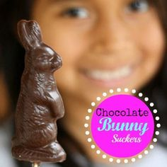 Make your own chocolate bunnies!! Easy chocolate bunny suckers.