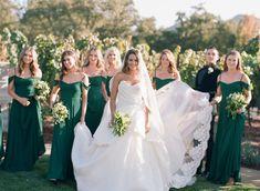 An Elegant Emerald Green and Black Wedding at the Vintage Estate Emerald Green Weddings, Bridesmaid Dresses, Wedding Dresses, Color Inspiration, Wedding Colors, Elegant, Floral, Image, Black