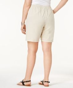 Karen Scott Plus Size Lisa Drawstring Cotton Shorts, Only at Macy's - Tan/Beige 0X