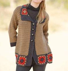 Diy Crafts - pattern knit crochet woman jacket autumn winter katia 6791 9 g Cardigan Au Crochet, Crochet Vest Pattern, Crochet Coat, Cardigan Pattern, Crochet Cardigan, Baby Knitting Patterns, Crochet Clothes, Crochet Waffle Stitch, Pull Crochet