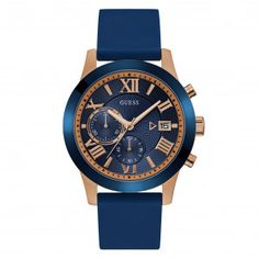 Price: (as of – Details) GUESS Men's Stainless Steel Silicone Casual Watch, Color: Rose Gold-Tone/Blue (Model: Brilliant blue casing with polished rose gold-tone accents and a … Casual Watches, Cool Watches, Watches For Men, Elegant Watches, Men's Watches, Emporio Armani, Bracelets Bleus, Bracelet Silicone, Titanium Watches