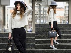 Get this look: http://lb.nu/look/8110654  More looks by Diana Ior: http://lb.nu/dianaior  Items in this look:  Zara Sweater, Zara Asymmetric Skirt, Sheinside Mini Bag, Missguided Ankle Boots, H&M Bag Bug, Accessorize Fedora   #chic #elegant #street
