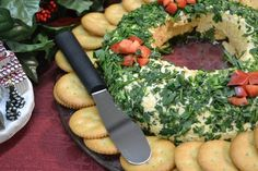 Simple Holiday Appetizer   Cheese Ball Wreath Recipe