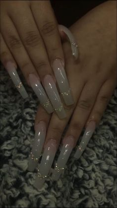 Acrylic Nails Coffin Glitter, Long Square Acrylic Nails, French Acrylic Nails, Coffin Nails Long, French Tip Nails, Best Acrylic Nails, Acrylic Nail Designs, Classy Acrylic Nails, Glitter Nails