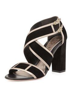 Crisscross Chunky-Heel Sandal, Black by Alexander McQueen at Neiman Marcus.