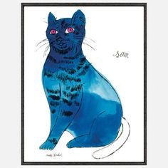 25 Cats '54 Sam  by Andy Warhol.  This Andy Warhol illustration dates to the 1950s and relates to a larger book of lithographs he created titled 25 Cats Named Sam and One Blue Pussy. Warhol made the drawing while he was still working as a commercial illustrator, and it is a fascinating pre-cursor to his later Pop Art output. The artist's passion for cats (he is rumored to have kept as many as 25 in his Manhattan apartment) is lovingly communicated through this expressive hand-colored feline.