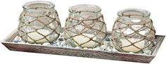 Enrich your environment with this San Miguel Pescatore tea light candleholder centerpiece. The rope details of the glass jar candle trio create a rustic look Candle Lanterns, Candle Jars, Candle Holders, Image Of Fish, Elk Lighting, Easy Home Decor, Tea Light Holder, Glass Jars, San Miguel