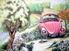 Creado con lapices de colores este dibujo tiene un objetivo y es llamar la atención mediante el coche de color rosa. Todo lo que rodea al coche rosa es de colores suaves, claros... esto es lo que a provocado mi elección del dibujo, la sencillez con la que el autor/a de la obra es capaz de llamar la atención.