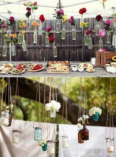 Decorar con botellas y flores