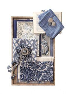 Fabrics: Caravan Ikat/Old Blue. Tonga/Seashore. Buckley/Royal. Bronte Stripe/Seaside Blues. Eddie by Robert Allen/Bluebell.