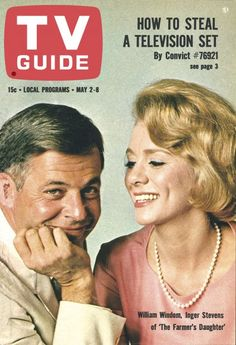 """TV Guide, May 2, 1964 - William Windom and Inger Stevens of """"The Farmer's Daughter"""""""