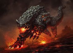 Ash Guardians are creatures of fire and smoke and, well ash, that guard the Tormented Plains. They resemble canines, both in basic anatomy and social structure, but have reptilian features. Ash Guardians are known for their fiery tempers and ability to breathe fire. It's said that even their paws and claws are imbued with the volatile element, and one swipe would burn you to cinders. Best not provoke them.