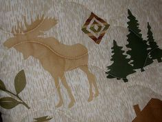 MOOSE Fish QUEEN DOUBLE QUILT cabin trout boat elk bird canoe DEER Bear + 2 Sham
